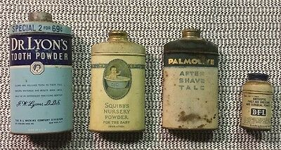 Vintage Bathroom Powders Collection Set of 4 Old Metal Tins Great Graphics