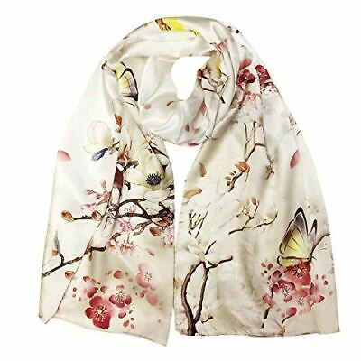 Wrapables Luxurious 100% Charmeuse Silk Long Scarf, Cherry Blossoms