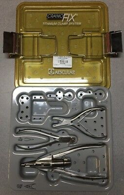 Lot of 3 - Aesculap CranioFix Clamp System Tools and Case