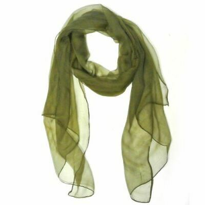 Wrapables Solid Color 100% Silk Long Scarf, Olive