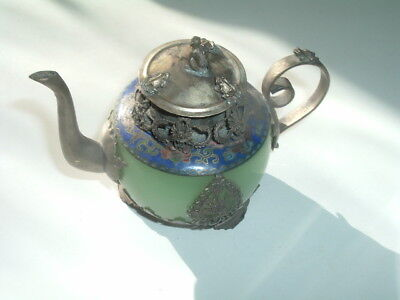 Small Antique Chinese Silver Green Jade Enamel Teapot W Frog Dragon Monkey