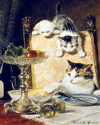 RONNER-KNIP Art Print Naughty Cat & Kittens AFTER DINNER Stealing Food Table