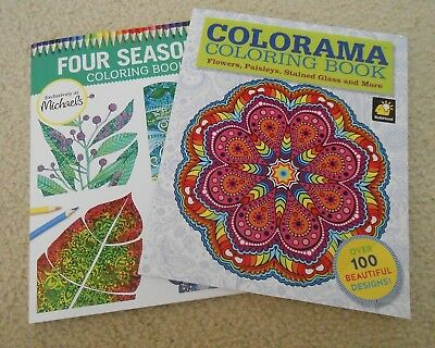 Lot of 2 Coloring Books -Flowers, Paisley, Stained Glass & Four Seasons