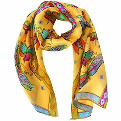 "Wrapables Vibrant 100% Silk Long Scarf 51"" x 10.5"", Dragonflies"