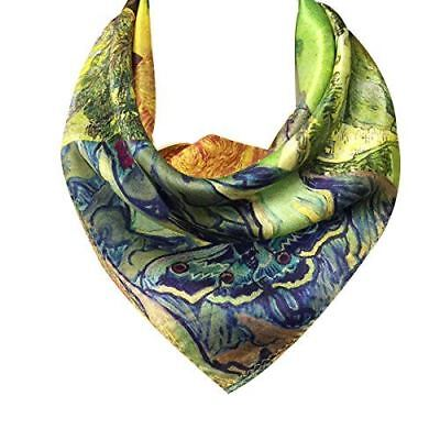 Wrapables 100% Charmeuse Silk Square Scarf Neckerchief, Van Gogh's Artwork