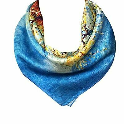 Wrapables 100% Charmeuse Silk Square Scarf Neckerchief, Van Gogh's, Peach Tree i