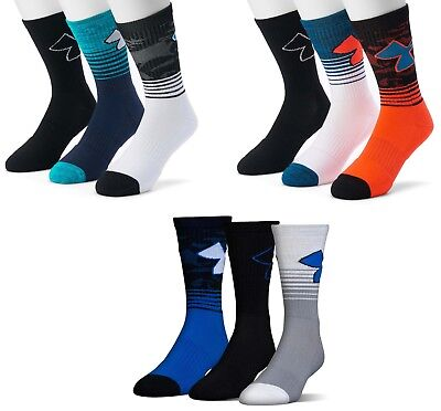 3 pairs Boys Under Armour Phenom Crew Socks Size Large L Shoes 4 5 6 7 8 Mens