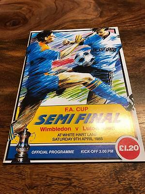 Wimbledon V Luton Town 1988 Fa Cup Semi Final Programme Mint Look Free Postage