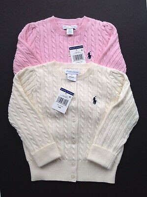 Ralph Lauren baby girls cable knit cardigan cream, pink  0-3, 6-9, 12-18,18-24