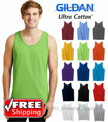 Gildan Tank Top Ultra Cotton Mens Workout Fitness Shirt Solid Color Plain 2200