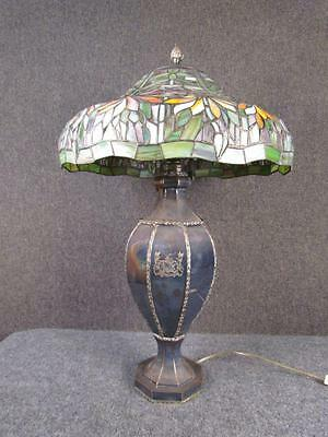 *EXCEPTIONAL* COLORFUL LEADED LAMP with ANTIQUE ENGLISH SILVER PLATE BASE