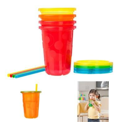 Spill Proof Plastic Cups 4 Pack Tumbler With Lids Straws Sippy Baby Toddler Kid