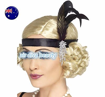 Women retro Black Feather Gatsby Flapper Party Hair headband band fascinator