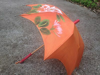 Vintage Child's Umbrella Parasol with Wooden Handle