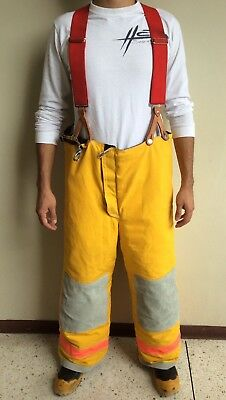 LION Apparel Firefighter Turnout Gear Yellow Pants & Red Suspenders Size 38x41