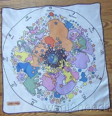 "70s vtg PETER MAX SILK ZODIAC SCARF 21"" square psychedelic astrology signs"