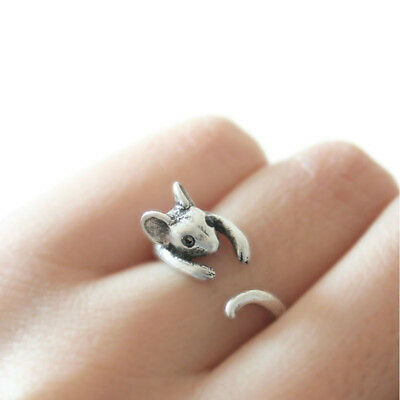 Crystal Girl's Gift Lovely Animal Wrap Ring Mouse Rings Bronze Retro Burnished
