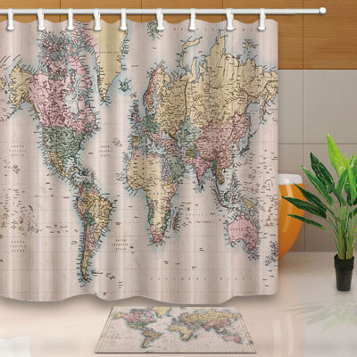 Old World Map Waterproof Polyester Fabric Shower Curtain 12 Plastic Hooks 71inch