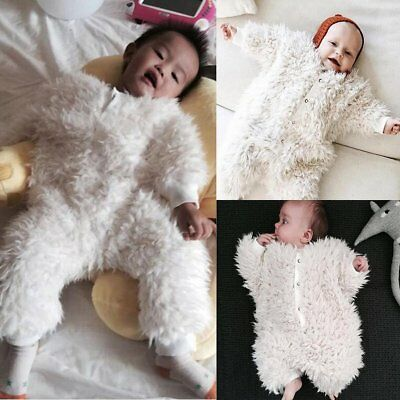 Winter Newborn Baby Girl Boy Flannel Romper Playsuit Outfits Clothes Size 0 1 2