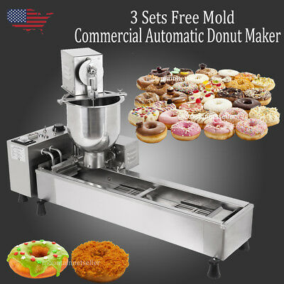 3 Sets Free Mold Commercial Automatic Donut Maker Making Machine Wide Oil Tank