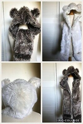 Restoration Hardware Baby & Child GIRLS Faux FUR BEAR EARS HOODED SCARF Hat 4-8