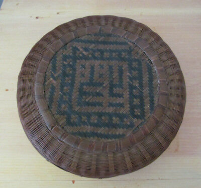 """Antique Vintage 9"""" x 3""""  Chinese Sewing Wicker Basket w/ Chinese Characters"""