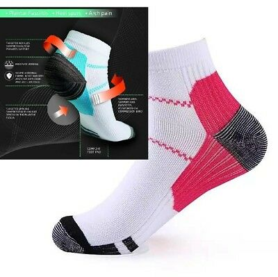 1 pair of compression ankle socks aid for plantar fascilitis size 6-11 new pink
