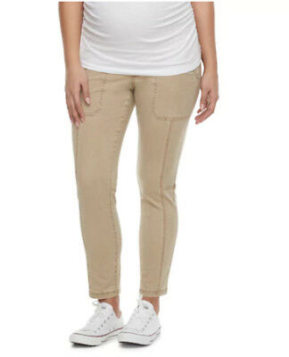 Maternity a:glow Belly Panel Utility Brown Capris Pants NEW
