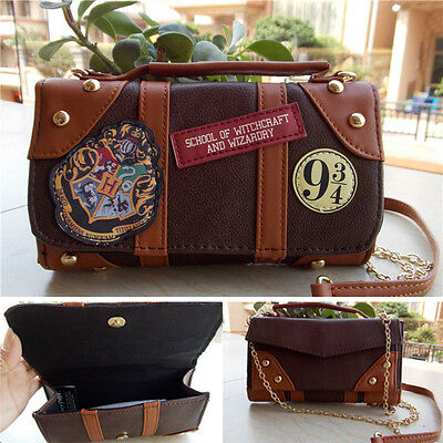 Harry Potter Hogwarts PU School Badge Wallet Hand Satche Purse Bag Package Gift