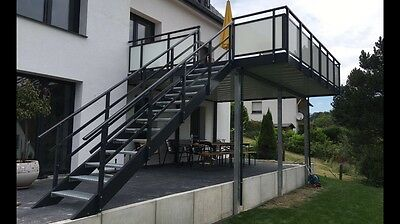 balkon terrasse mit treppe vorstellbalkon anbaubalkon bodenbelag aus bangkira eur 1 00. Black Bedroom Furniture Sets. Home Design Ideas