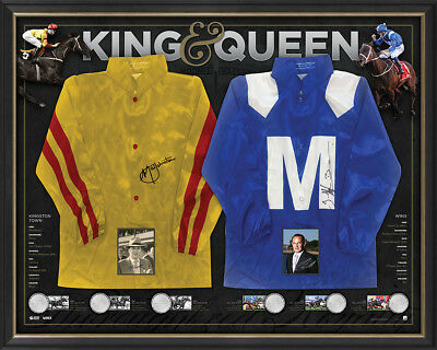 Winx & Kingston Town King & Queen Signed Official Silks Cox Plate Champion Frame