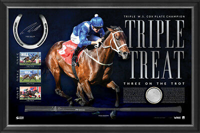 Winx Signed Whip & Horse Shoe Official 2017 Cox Plate Champion Official Frame