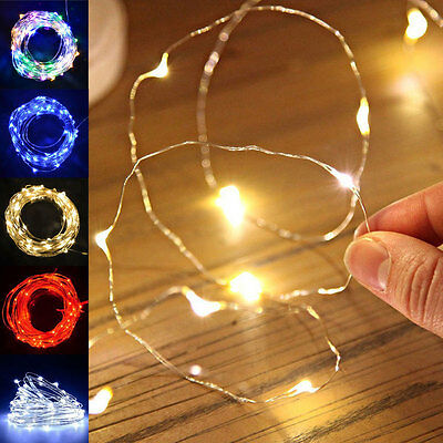 20/30/50LED Micro String Battery Operated Silver Wire Fairy Lights Xmas Party aa