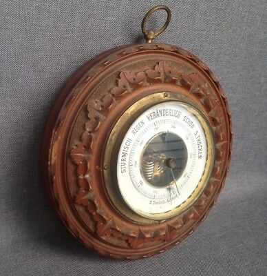 Vintage german black forest barometer Altdorf 1950's brass and oak not working