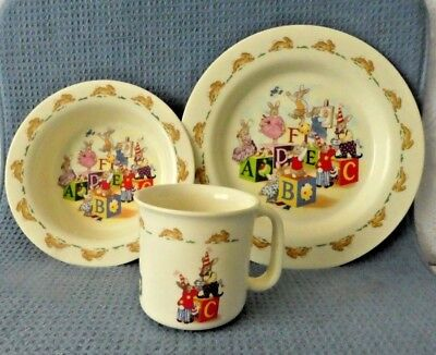 Royal Doulton Bunnykins baby child dinner set bunnies rabbits cup bowl plate