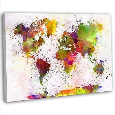 MAP OF THE World Abstract Watercolour Canvas Print Framed Wall Art ...