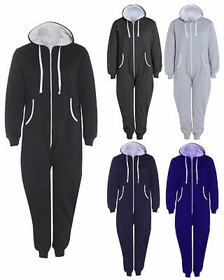 Mens Womens Hooded Thermal Onsie All In One Warm Winter Unisex Zip Up Jumpsuit