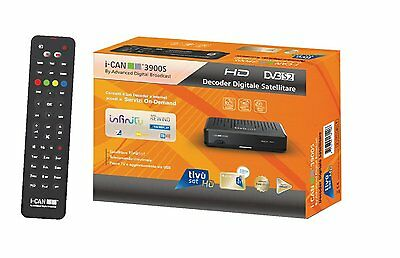 I-CAN 3900S DECODER  TIVU' SAT HD con tessera tivusat  HD Gold compresa.-
