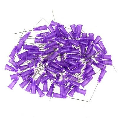 100PCS Purple Stuck Connector Dispenser 24Ga 1 inch Steel Blunt Needle