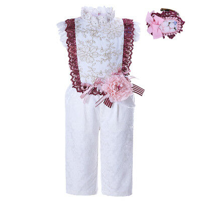 2PCS Girls Jumpsuit with Headband Lace Embroidered Flower Princess One-Piece