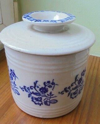 pot couvert beurrier  st uze  ou st vallier  decor frise bleu PERFECT CONDITION