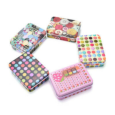 Mini Tin Metal Container Small Rectangle Lovely Storage Box Case Pattern UK STOC