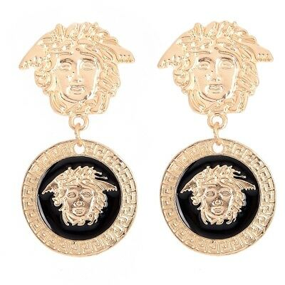 Women's Lion Head Crystal Ladies Fashion Gold Stud Earrings Drop Dangle Elegant