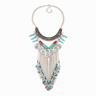 Spike Vintage Alloy Coin Bead Fashion Brand Pendant Turquoise Stone Necklace New