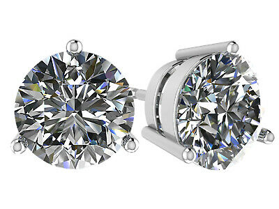 NANA Swarovski Zirconia CZ 3 Prong Stud Earrings Sterling Silver Hypoallergenic