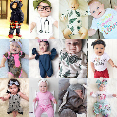 Baby Kids Girls Infant Romper Jumpsuit Bodysuit Babygrows Cotton Clothes Outfit