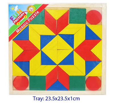 NEW Wooden MOSAIC Puzzle FUN FACTORY Combine Shapes MAKE PICTURES Free Shipping