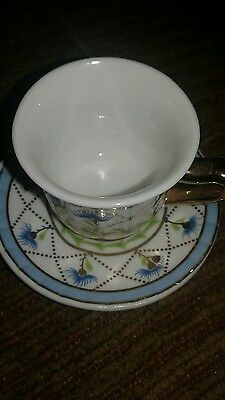 Pretty Delicate Blue Floral Design Tea Cup with Matching Saucer