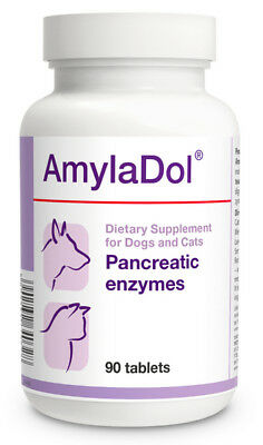 Dolfos AmylaDol 90 Tab Pancreatic / Digestive Enzymes CATS & DOGS Overall Health