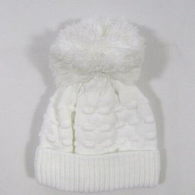 Baby Babies Girls Knitted Warm Winter Bobble Hat Pom Pom White Knit Lined 313
